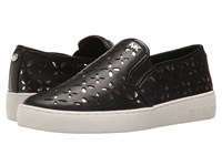 Michael Michael Kors Keaton Slip On Black Silver Vachetta Floral Perf Mirror Metallic Nappa Women's Slip On Shoes Black Silver Vachetta Floral Perf Mirror Metallic