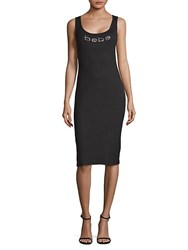 Bebe Logo Sleeveless Sheath Dress Jet Black