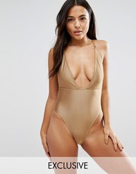 Wolf And Whistle Plunge Swimsuit With Removable Chain Pale Gold