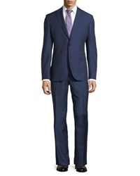 Neiman Marcus Dotted Wool Two Piece Suit Navy