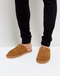 Dunlop Slip On Suede Slippers Tan