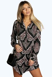 Boohoo Paisley Shirt Dress Black