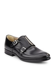Kenneth Cole Reaction Double Monk Strap Leather Shoes Black