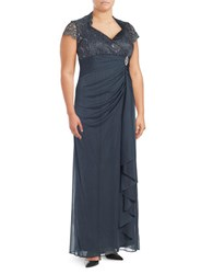 Betsy And Adam Plus Lace Trimmed Gown Steel