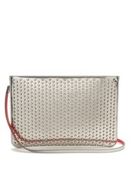 Christian Louboutin Loubi Spike Embellished Leather Clutch Silver