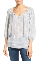 Caslonr Women's Caslon Print Cotton Tie Neck Peasant Blouse White Blue Stripe