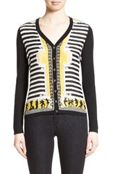 Versace Women's Collection Catwalk Print Silk And Wool Cardigan