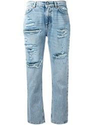 Dolce And Gabbana Strawberry Embellished Cropped Jeans Blue