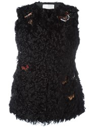 Valentino Embroidered Fur Gillet Black