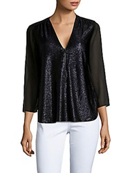 Giorgio Armani Edge Sheer V Neck Blouse Black