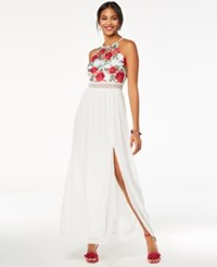 Amy Byer Bcx Juniors' Embroidered Crochet Trimmed Gown White