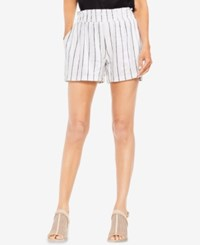 Vince Camuto Pinstriped Smocked Pull On Shorts Ultra White