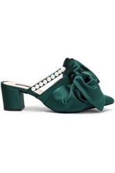 Mother Of Pearl Woman Ivy Bow Embellished Satin Mules Emerald