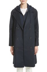 Emporio Armani Women's Double Breasted Cotton Blend Trench Coat With Removable Hoodie Inset Navy