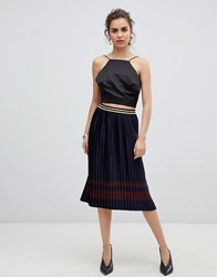 B.Young Metallic Pleated Skirt Copenhagen Night Navy
