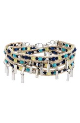 Treasure And Bond Women's Beaded Wrap Bracelet Turquoise Multi Rhodium