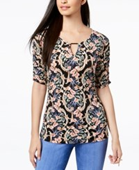 Thalia Sodi Ruched Hardware Top Created For Macy's Floral Falls
