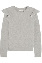 Chinti And Parker Ruffle Trimmed Ribbed Cashmere Sweater Gray