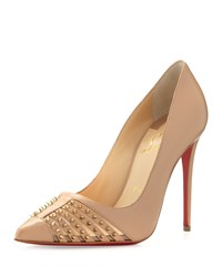 Christian Louboutin Baretta Studded Red Sole Pump Nude Girl's Size 36.0B 6.0B Nude Light Gold