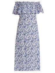 Rebecca Taylor Aimee Floral Print Off The Shoulder Silk Dress Blue White