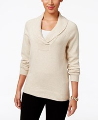 Karen Scott Marled Shawl Collar Sweater Only At Macy's New Khaki