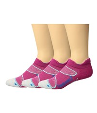 Feetures Merino Cushion No Show Tab 3 Pair Pack Pink Hyper Blue No Show Socks Shoes