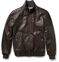 Brunello Cucinelli Reversible Leather Bomber Jacket Brown