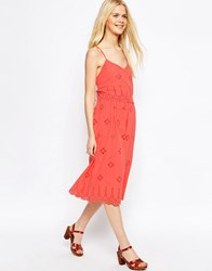 Asos Strappy Broderie Midi Sundress Pink