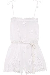 Miguelina Peggy Cotton And Lace Playsuit White