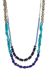 Kenneth Cole Two Row Multi Bead Long Necklace Blue