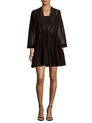 Iro Leonore Long Sleeve Perforated Dress Black