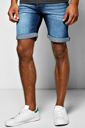 Boohoo Fit Indigo Wash Denim Shorts In Long Length Indigo