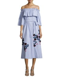 Suno Striped Shirting Midi Dress Blue