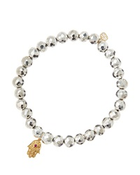 Sydney Evan Silver Pyrite Beaded Bracelet With 14K Gold Hamsa Charm Made To Order