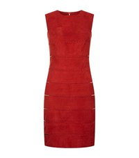 La Mania Suede Whipstitch Dress Female Red