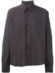 Romeo Gigli Vintage Striped Boxy Fit Shirt Brown