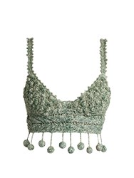 Rosie Assoulin Carmen Miranda Crochet Cropped Top Green
