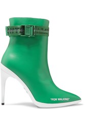 Off White For Walking Logo Jacquard Printed Leather Ankle Boots Green