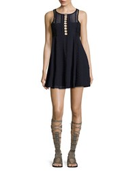 Free People Wherever You Go A Line Dress Navy