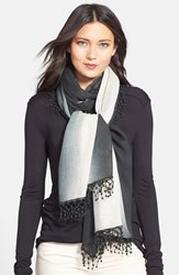 La Fiorentina Women's 'Ombre Lace' Cashmere Scarf Charcoal Oatmeal