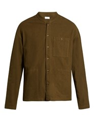 Fanmail Mandarin Collar Cotton Flannel Shirt Khaki