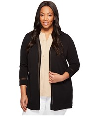 Vince Camuto Specialty Size Plus Long Sleeve Sheer Stripe Cardigan Rich Black Women's Sweater