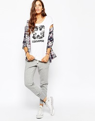 Converse Cuffed Skinny Sweat Pants With Tie Front And Small Logo Tracksuit Grey