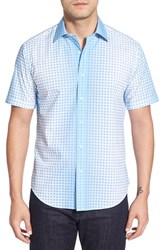 Men's Bugatchi Shaped Fit Short Sleeve Ombre Grid Sport Shirt