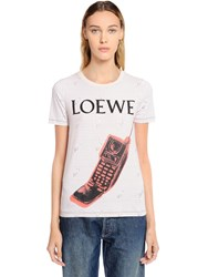 Loewe Phone Printed Cotton Jersey T Shirt Multicolor