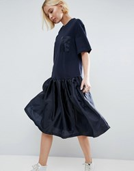 Asos White Drop Waist T Shirt Dress With Satin Contrast Navy