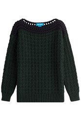 Mih Jeans Chunky Knit Pullover With Alpaca Green