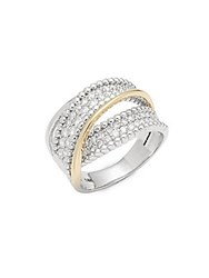 Saks Fifth Avenue Two Tone Twist Diamond And 14K Yellow Gold Ring White Gold