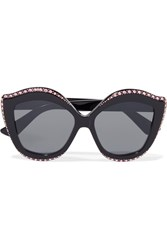Gucci Embellished Cat Eye Acetate Sunglasses Black