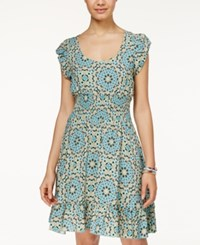 American Rag Printed Smocked Ruffle Hem Dress Only At Macy's Casablanca Tile